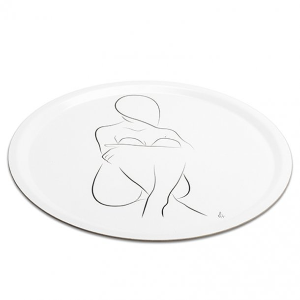 Tray Sitting Silhouette Round